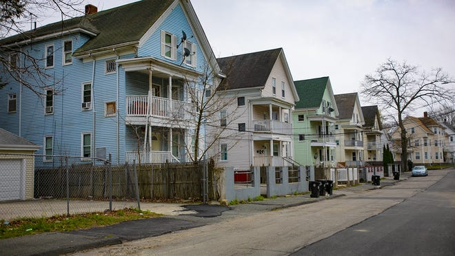 Apartment houses on Lexington Street in Brockton are photographed on Tuesday, April 21, 2020.