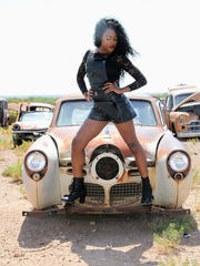 Victoria Parker models in Alamogordo Monday, June 26.