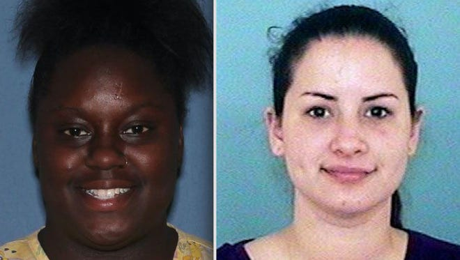 Fatina Sawyer, left, and Gabriella Del Carmen Garcia were arrested Wednesday, Oct. 11, 2017, on suspicion of making a video of themselves making obscene gestures and posting it on Snapchat on Monday, Oct. 9, 2017. In the video, Garcia is seen giving a sex toy to a child, while Sawyer is accused of recording the incident.