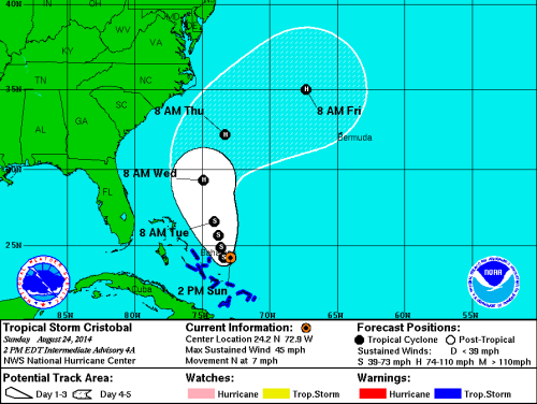 Forecast track for Tropical Storm Cristobal at 2 p.m. Sun. Aug. 24, 2014 (Source: National Hurricane Center)