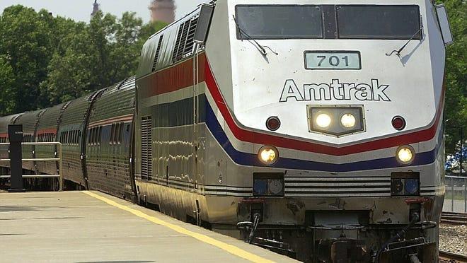 A northbound Amtrak train passes through Peekskill.