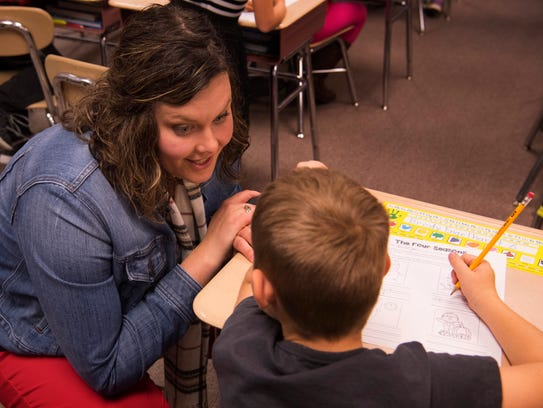 Andrea Boyle and first-grader Brody Engelhardt come