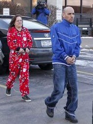 """Pablo """"Paul"""" Plaza and his mother, Janine Plaza Pierce, enter federal court in 2013"""