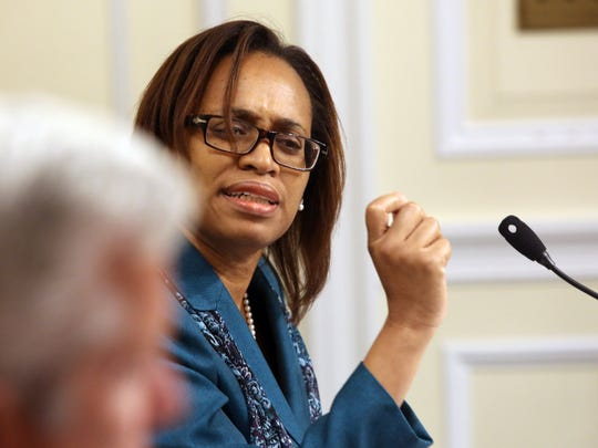 Nadine Hunt-Robinson of the White Plains Common Council speaks during the meeting where the council was expected to vote on a deal that could end a year of litigation between the city and the French-American School of New York at City Hall in White Plains on Sept. 6, 3016.
