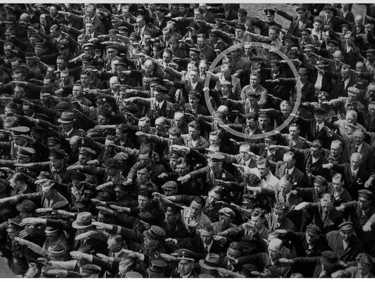 Image result for worshipping hitler one guy didnt