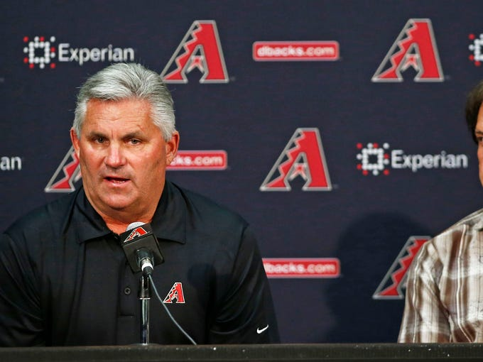 Arizona Diamondbacks GM Kevin Towers and Chief Baseball Officer Tony La Russa discuss the trade of Martin Prado to the New York Yankees and Gerardo Parra to the Milwaukee Brewers in exchange for two prospects, outfielder Mitch Haniger and left-hander Anthony Banda on Thursday, July 31, 2014 at Chas Field in Phoenix.