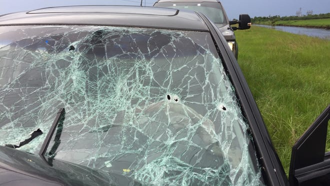 The windshield of a Martin County Sheriff's Office detective is seen after a crash ended a two-county chase Friday, June 15, 2018.