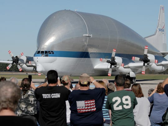 NASA's wide-body Super Guppy, shown here in a 2015 visit to Mansfield, is scheduled to arrive with the Orion space capsule at 2:30 p.m. Sunday at Mansfield Lahm Regional Airport.