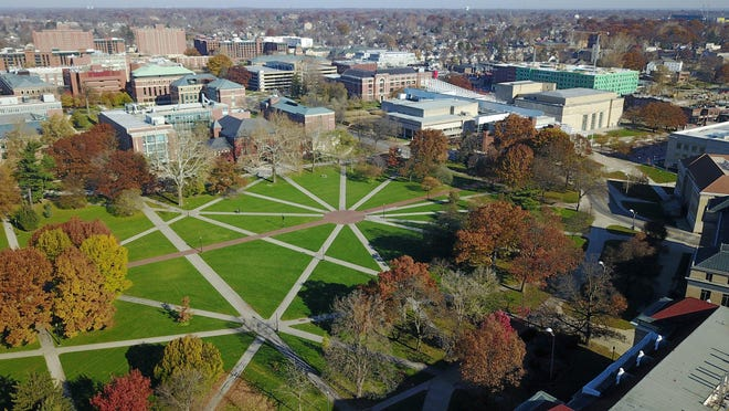 Aerial drone photo of the Oval at the Ohio State University in November 2017.