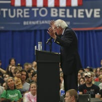 Bernie Sanders speaks during a campaign rally at Fitzgerald Fieldhouse on the University of Pittsburgh campus on April 25.