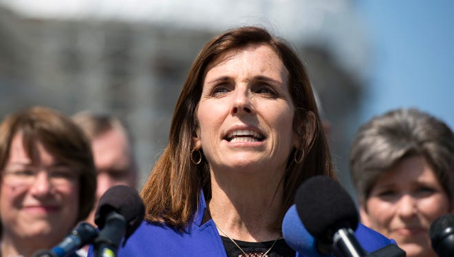 In this March 16, 2016 file photo, Rep. Martha McSally, R-Ariz. speaks on Capitol Hill in Washington.