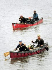 Part of a group of adventurers were less than halfway through a 5,200 mile, nine-month canoe trip Wednesday when they arrived in Mankato.