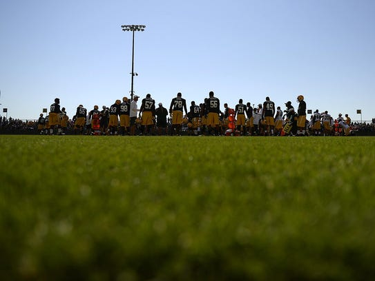 Green Bay Packers during training camp practice Thursday