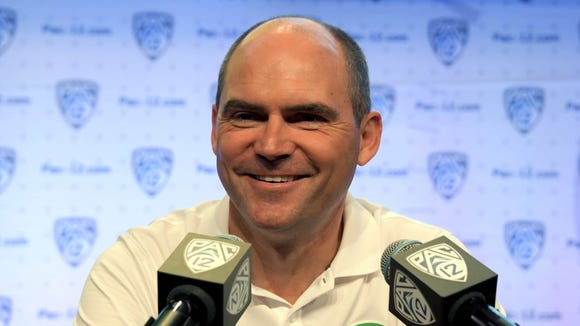 Jul 14, 2016; Hollywood, CA, USA; Oregon Ducks coach Mark Helfrich during Pac-12 media day at Hollywood & Highland. Mandatory Credit: Kirby Lee-USA TODAY Sports