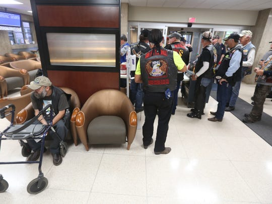 Motorcyclists participating in the annual Run for the Wall mingled in the lobby of the Robley Rex VA Medical Center, making a stop there while on their way to Vietnam Veterans Memorial in Washington DC. May 25, 2016.