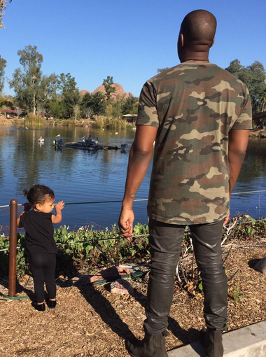 """Kim Kardashian West visits the Phoenix Zoo with her """"Boo"""" Kanye West and their daughter North West on Monday, February 2, 2015."""