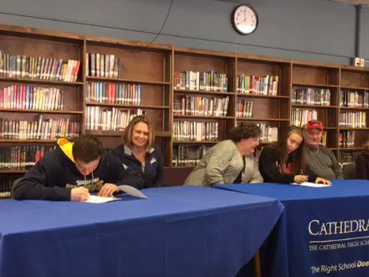 Cathedral athletes sign letters of intent