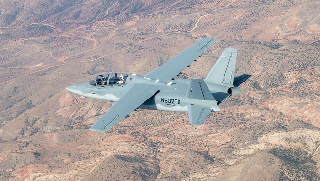 This Aug. 4, 2017, photo provided by the U.S. Air Force shows a Textron Scorpion experimental aircraft as it conducts handling and flying quality maneuvers above White Sands Missile Range near Alamogordo, N.M. The Scorpion is participating in test flights for the light-attack experiment known as the OA-X initiative being conducted Wednesday, Aug. 9, 2017, at Holloman Air Force Base in southern New Mexico.