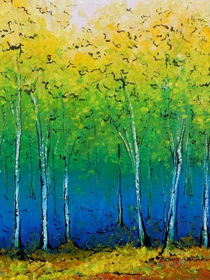"""""""Blue Forest"""" oil pastel and mixed media by Bethany Kirwen, an Artist of the Week through July 15 at the Gallery of the Door County Art League."""