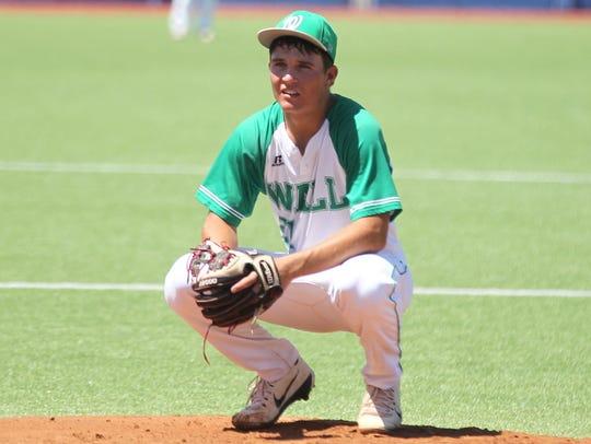 Wall High School starting pitcher Dryden Virden gave