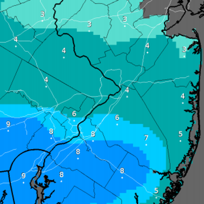 The maximum snowfall totals for snow expected to fall