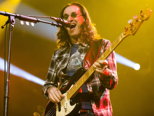Rush singer/bassist Geddy Lee entertains the crowd