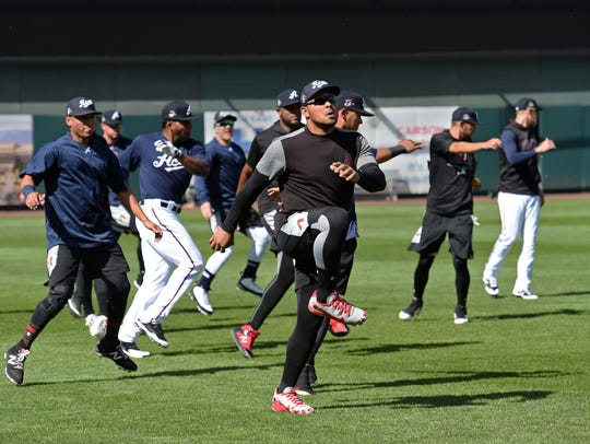The Reno Aces warm up for practice on the Greater Nevada