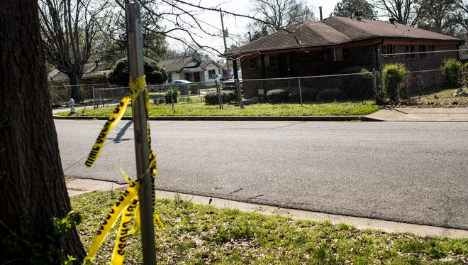 March 21, 2017 - Crime scene tape is seen near a home on the 2500 block of Hanwood where a 74-year-old man died Monday after he was mistakenly shot by his 82-year-old friend last week.