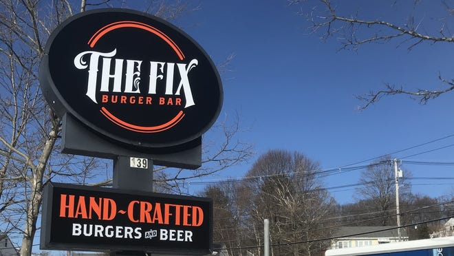 The Fix Burger Bar sign at the restaurant in Marlboro