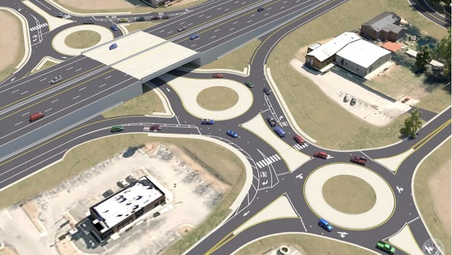 This image shows a series of 3 roundabouts that will be part of the Williams Road exit on US 70.