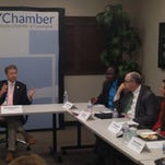U.S. Sen. Rand Paul, R-Ky., and GOP presidential hopeful, makes a point Friday to members of the Northern Kentucky Chamber of Commerce and area minority business leaders.