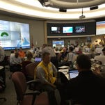 Simulated hurricane hits Pensacola