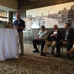 Port Huron-to-Mackinac Island Sailboat Race Chairman Peter Wenzler addresses an audience Thursday during a press conference at the DoubleTree by Hilton Port Huron hotel.