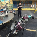 These motorcycles detached from a ride at Market Square carnival, injuring two children.