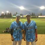 Sauk Rapids American Legion baseball players Tyler Bjork (left) and Mat Meyer both are members of the St. Cloud State baseball team.