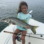 Satellite Beach's Baleigh Rohmann, 6, caught her first snook on Saturday while fishing with her dad, Robert Rohmann. She caught the snook on a live threadfin in Jupiter Inlet.