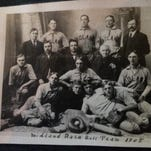 Bert Tooley began playing for an independent league team in Midland in 1905. He is second from the right in the first row.