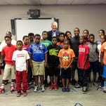 U.S Congressman Ralph Abraham, R-Alto, speaks to at-risk students participating in the Ouachita Parish Sheriff's Office enrichment program Deputies Making a Difference at Jack Hayes Elementary School in Monroe on Monday.