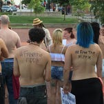 About 30 people participated in the second Free the Nipple rally this month on the square in downtown Springfield.