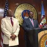 Project Manager Arthur Holland, City Engineer Kim Golden and Mayor Jamie Mayo discuss infrastructure projects on Monday at a news conference.