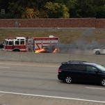An engine fire ignited just before 1 p.m. at westbound I-696 and Bermuda Road in Royal Oak. The small, dark colored compact car was stopped in the far left shoulder as traffic continued in both directions on the expressway.