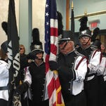 Members of the Hudson Valley Alumni Guard Saturday shortly before they presented the colors at the 10th Annual Dutchess County Veterans Appreciation Day at the FDR Presidential Library and Museum in Hyde Park.