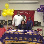 Whippany Park shot putter Nickolette Dunbar signed a National Letter of Intent with Louisiana State on Thursday. Her father, Karl Dunbar, played and coached football at LSU.