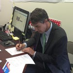 U.S Rep. Beto O'Rourke, D-El Paso, files documents Saturday at the El Paso County Democratic Headquarters, 1401 Montana, to officially begin his re-election campaign to represent the 16th District of Texas.