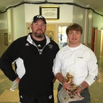 The Cooper Buick GMC High School Hero of the Week Sam Philley, right, with his coach Ryan Gregory.