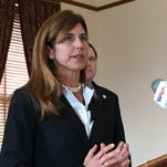 NJ Senator Jennifer Beck, R-Monmouth, at a press conference Monday in Trenton where she explained how she thinks the state can avoid raising the tax on gasoline (Bob Jordan/iPhone)