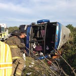 Emergency crews respond to a bus crash in Red Lion on Sept. 21, 2014. Federal regulators have released a report showing that high speed played a role in the crash.