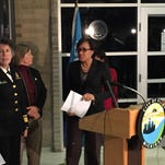 Flint Mayor Karen Weaver addressed reporters at a press conference on Friday, Jan. 29, 2016 to announce elevated lead levels found in water samples in the city that exceeded the rated ability of water filters handed out to residents