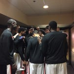 Oregon State players gather before taking the court against Colorado at Gill Coliseum on Feb. 6, 2016.