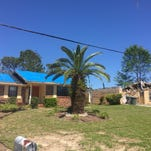"""This residence on Tradewinds Drive in Pensacola is one of numerous local homes that survived the tornadoes in February after being """"hardened"""" by Rebuild Northwest Florida."""
